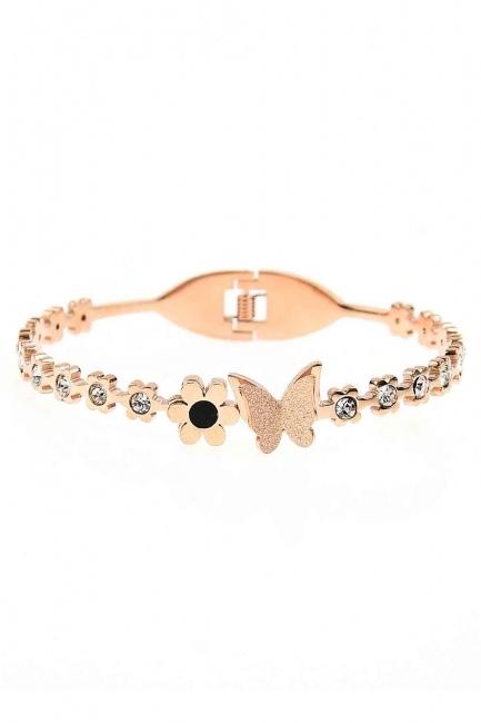 Stone Detailed Butterfly Bracelet (St) - Thumbnail