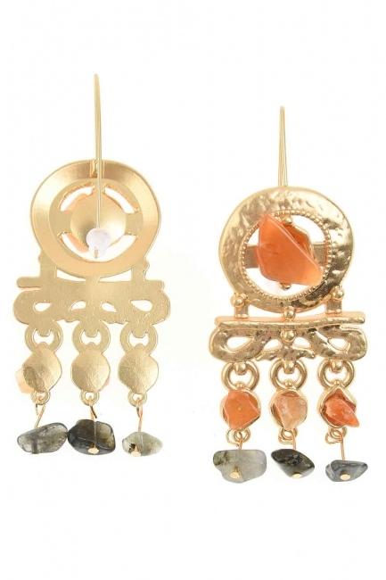 Stone Detailed Copper Earrings (St) - Thumbnail