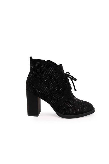 MIZALLE - أحذية بكعب حجر مفصل (أسود) (1)