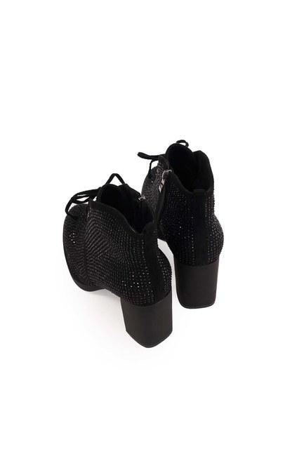 أحذية بكعب حجر مفصل (أسود) - Thumbnail