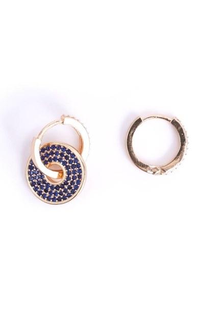 Mizalle - Stone Detailed Hoop Earrings (Yellow) (1)