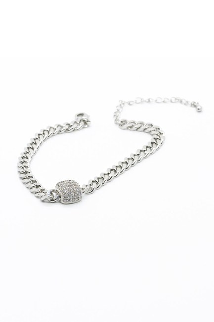 MIZALLE - Stoned Chain Bracelet (Grey) (1)