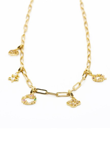 MIZALLE - Stoned Chain Necklace (Yellow) (1)