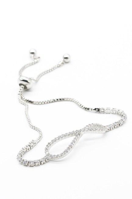 Mizalle - Stoned Infinity Bracelet (Grey) (1)