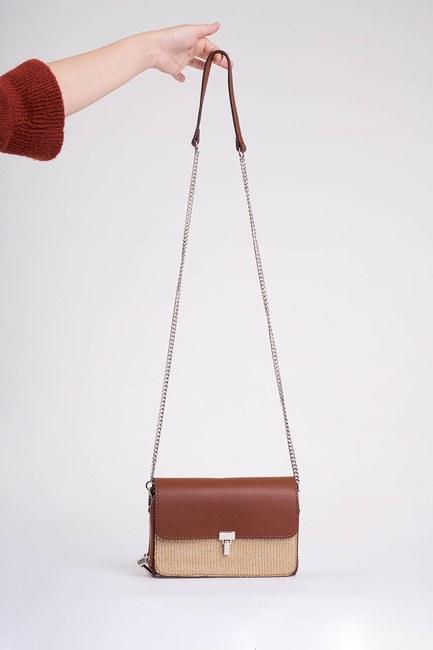MIZALLE - Straw Detailed Shoulder Bag (Tan) (1)