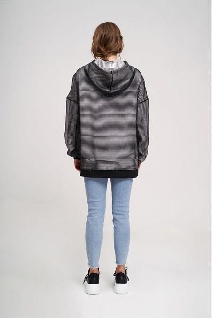 Stripe Organza Sweatshirt (Black) - Thumbnail