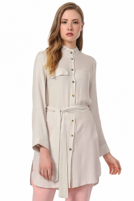 Striped Belted Tunic Shirt (Beige) - Thumbnail