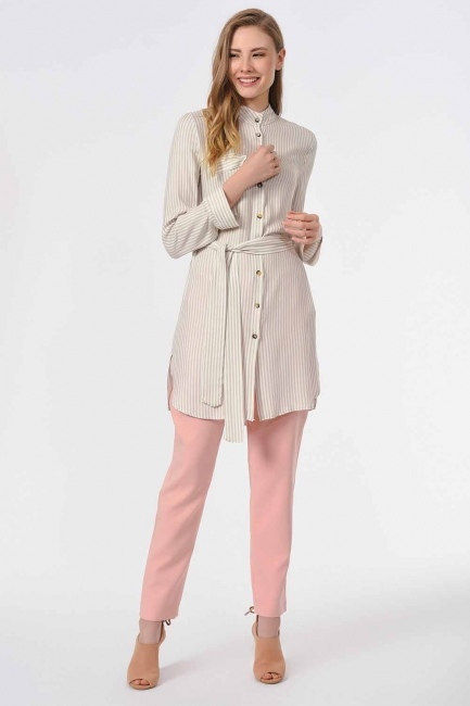 MIZALLE - Striped Belted Tunic Shirt (Beige) (1)