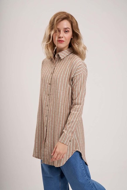 MIZALLE YOUTH - Striped Cotton Tunic Shirt (Khaki) (1)