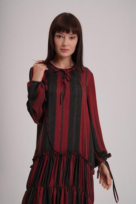 فستان مقلم بتفاصيل الطبقات (أرجواني داكن) - Thumbnail