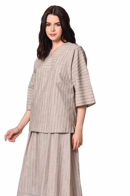 MIZALLE Striped Linen Textured Blouse (Beige)