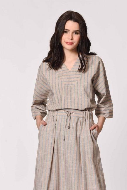 MIZALLE - Striped Linen Textured Blouse (Beige) (1)