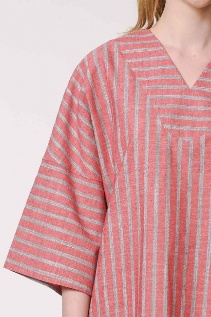 Striped Linen Textured Blouse (Orange-Red) - Thumbnail