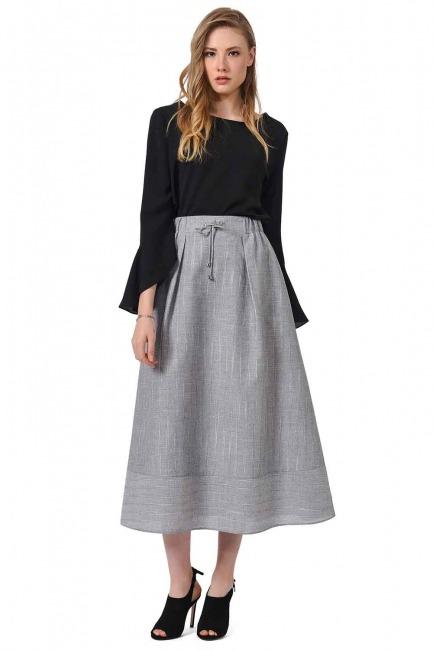 MIZALLE Striped Linen Textured Skirt (Grey)