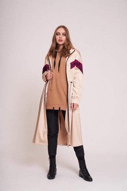 MIZALLE YOUTH - معطف مفصل مخطط بسحاب بالامام(بيج) (1)