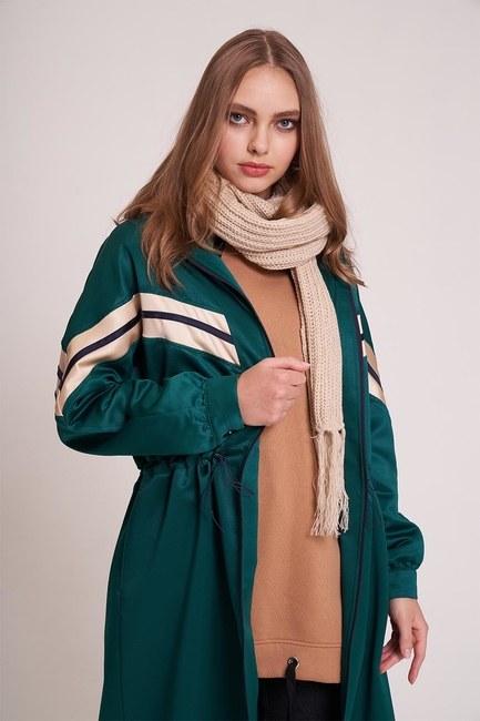 MIZALLE YOUTH - معطف مفصل مخطط بسحاب بالامام(اخضر) (1)