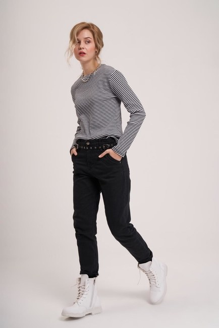 MIZALLE YOUTH - Striped Long Sleeve Shirt (Black) (1)