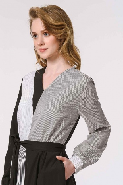 Striped Multi-Piece Dress (Black) - Thumbnail