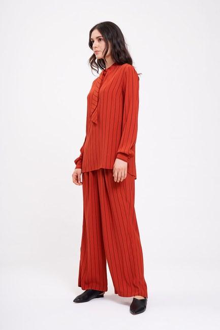 MIZALLE - Striped Neck Tied Blouse (Brick Red) (1)