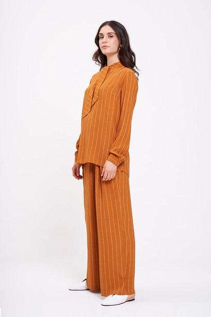 MIZALLE - Striped Neck Tied Blouse (Saffron) (1)