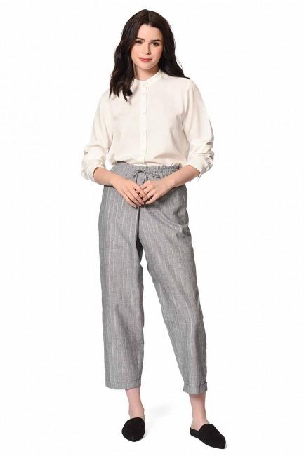 Striped Piece Trousers (Grey) - Thumbnail