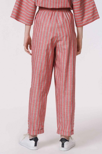 Striped Piece Trousers (Orange-Red) - Thumbnail