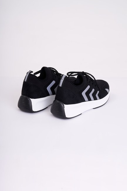 MIZALLE - Striped Scuba Sneakers (Black) (1)