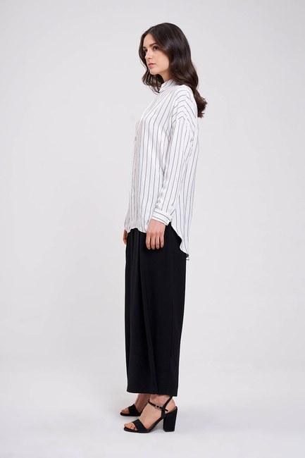 MIZALLE - Striped Shirt Blouse (Ecru) (1)