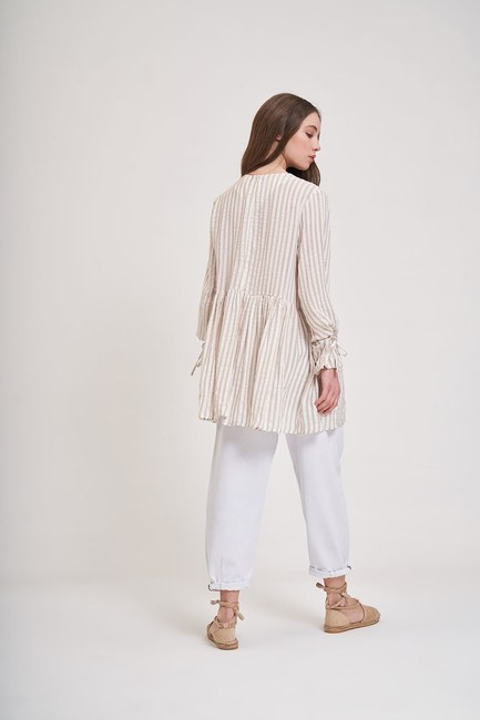 MIZALLE YOUTH - Striped Sleeve Tied Blouse (Beige) (1)