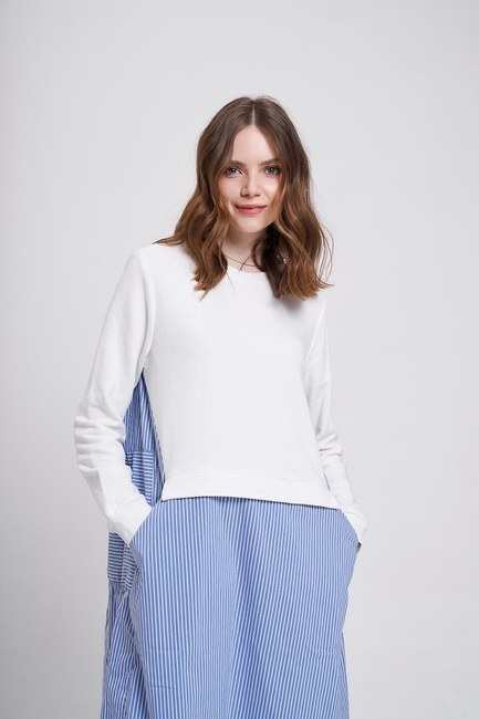 MIZALLE YOUTH - Striped Sweat Dress (Ecru) (1)