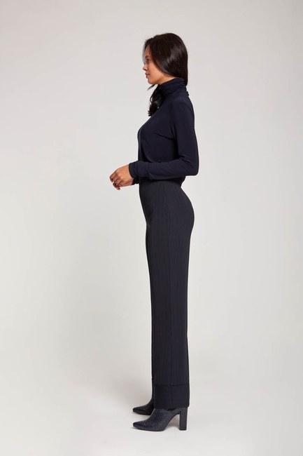 Striped Wide Leg Trousers (Navy Blue) - Thumbnail