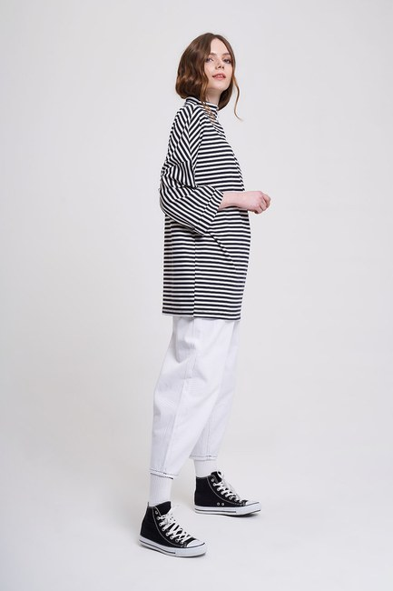 MIZALLE YOUTH - Striped Wide Sleeve Tunic (Black) (1)