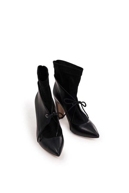 أحذية بكعب مفصل من جلد الغزال (أسود) - Thumbnail