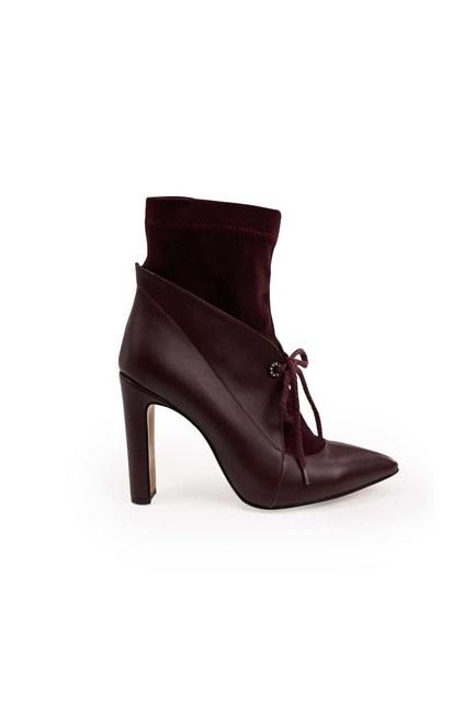 أحذية من جلد الغزال مفصلة (كلاريت الأحمر) - Thumbnail