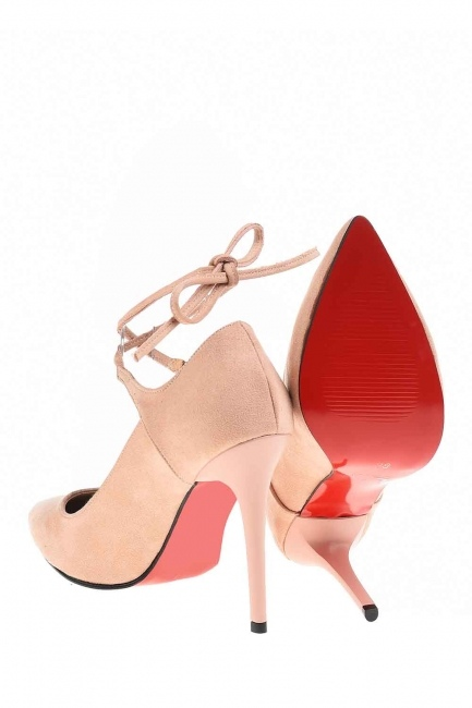 Suede Pointed Toe Shoes (Powder) - Thumbnail