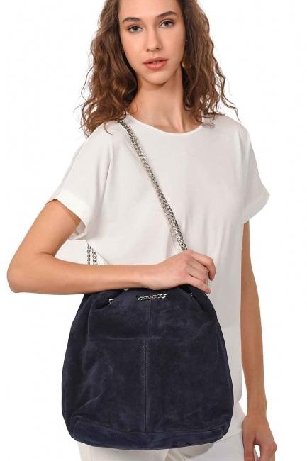 Suede Shoulder Bag (Navy Blue) - Thumbnail
