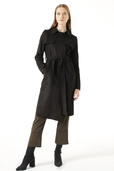 Suede Trenchcoat (Black) - Thumbnail