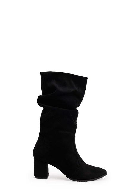MIZALLE - Süet Çizme (Siyah) (1)