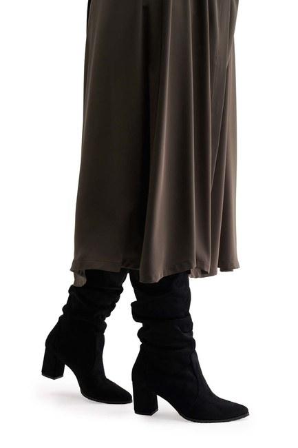 MIZALLE Süet Çizme (Siyah)