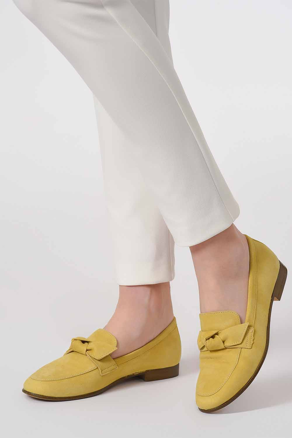 MIZALLE Suede Bow Leather Moccasins (Yellow) (1)