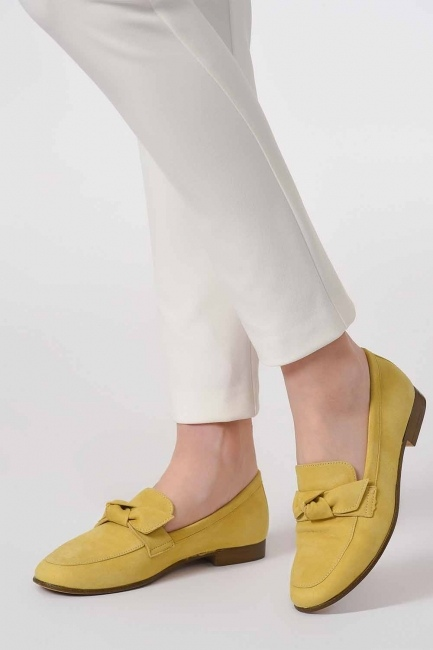 Suede Bow Leather Moccasins (Yellow) - Thumbnail
