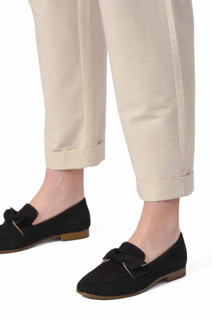 Suede Bow Leather Moccasins (Black) - Thumbnail