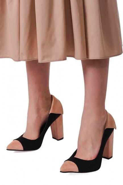 Süet Kalın Topuk Ayakkabı (Siyah/Pudra) - Thumbnail