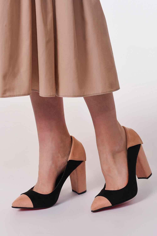 MIZALLE Süet Kalın Topuk Ayakkabı (1)