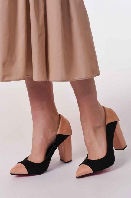 MIZALLE - Süet Kalın Topuk Ayakkabı (Siyah/Pudra) (1)