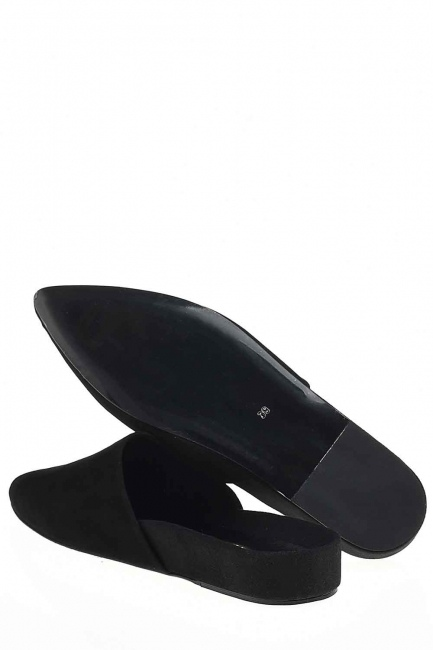 النعال من جلد الغزال ، بريميوم (أسود) - Thumbnail