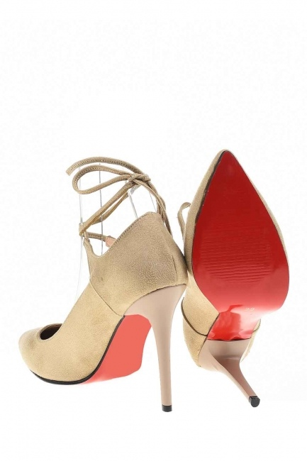 MIZALLE - أحذية من جلد الغزال مع أشار اصبع القدم (بِيج) (1)