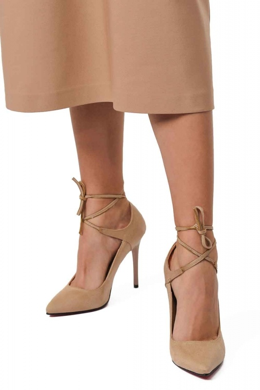 Suede Pointed Toe Shoes (Beige)