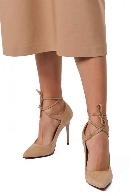MIZALLE Süet Sivri Burun Ayakkabı (Bej)