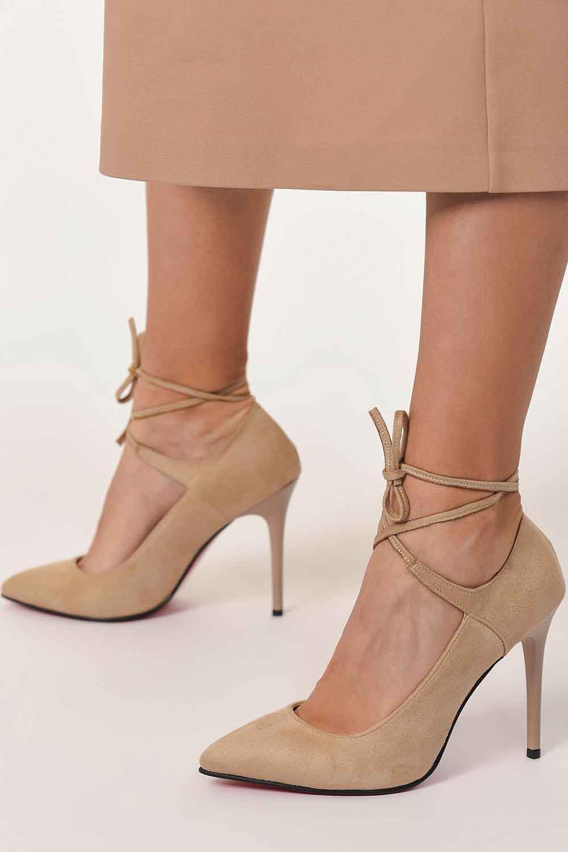 MIZALLE Süet Sivri Burun Ayakkabı (Bej) (1)